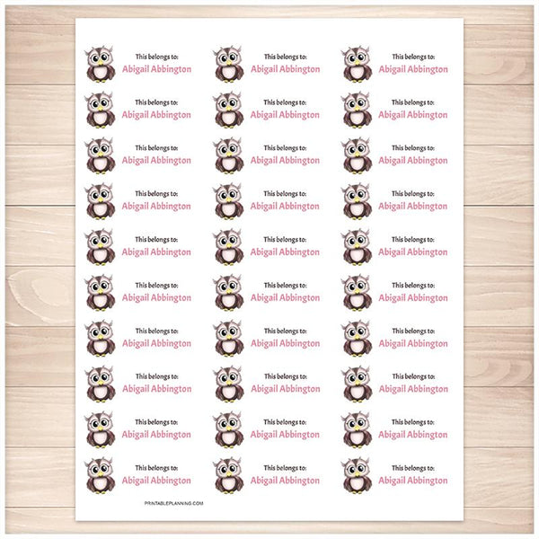 Adorable Owl Name Labels for School Supplies - Printable Planning
