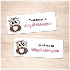 Adorable Owl Name Labels for School Supplies - Printable