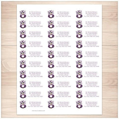 Cute Purple Owl Address Labels 30up - Printable Planning