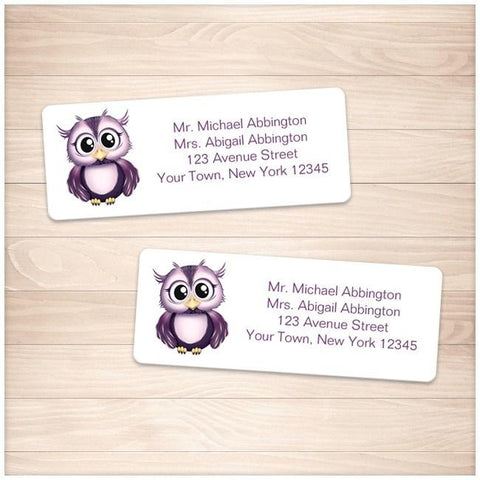 Cute Purple Owl Address Labels - Printable Planning