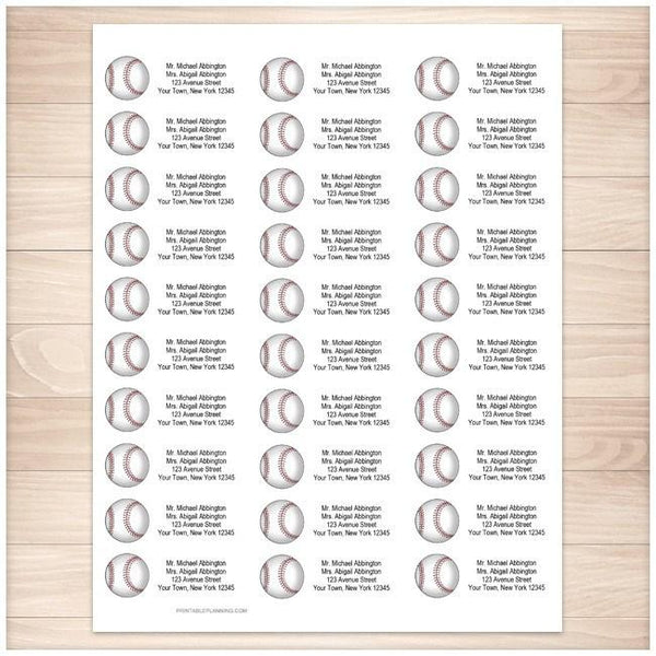 Athletic Sports Baseball Address Labels 30up - Printable Planning