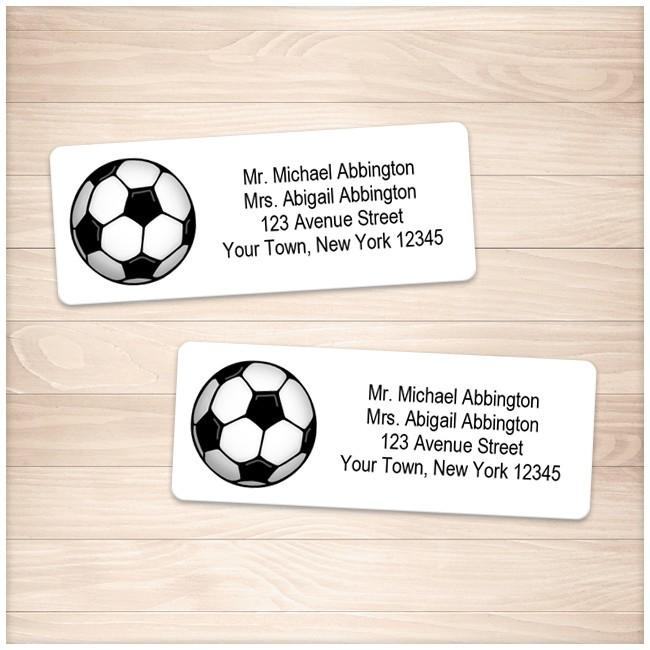 Athletic Sports Soccer Ball Address Labels - Printable Planning