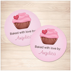 Printable Baked with Love Personalized Pink Cupcake Stickers at Printable Planning