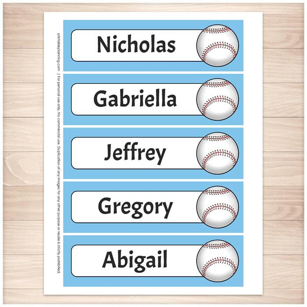 Personalized Blue Baseball Bookmarks - Printable