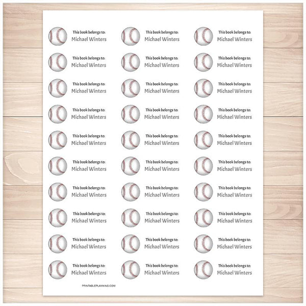 Baseball Bookplate Labels for Name Labeling Books - Printable Planning