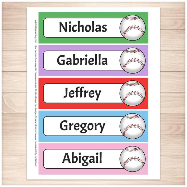 Personalized Baseball Colorful Bookmarks - Printable