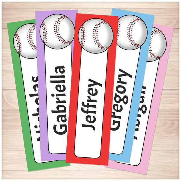 Personalized Baseball Colorful Bookmarks - Printable Planning