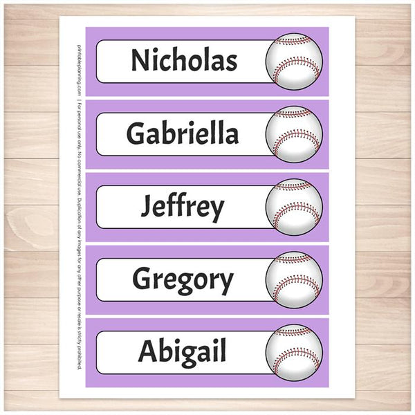 Personalized Purple Baseball Bookmarks - Printable