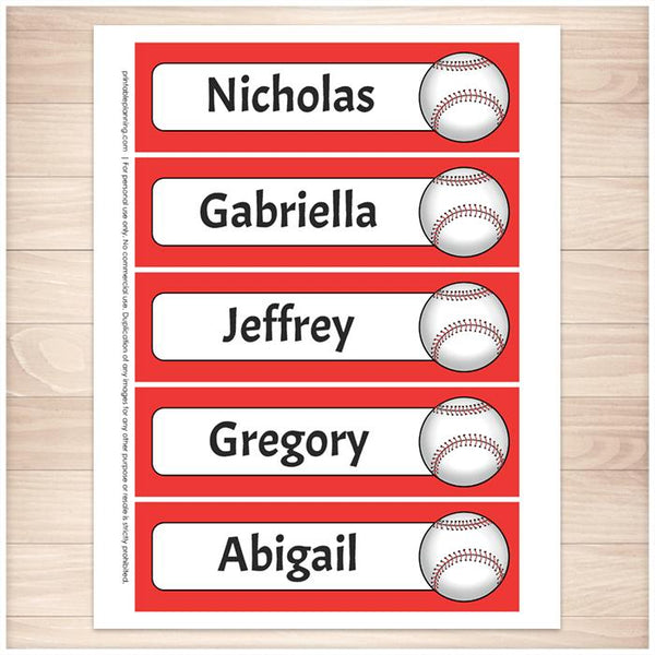 Personalized Red Baseball Bookmarks - Printable