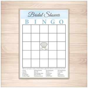 graphic relating to Bridal Bingo Printable named Beach front Bridal Shower Bingo Video game Card - Printable at Printable Coming up with for simply 5.00