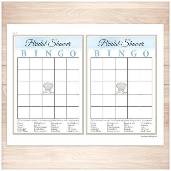 Beach Bridal Shower Bingo Game Card 2up - Printable Planning