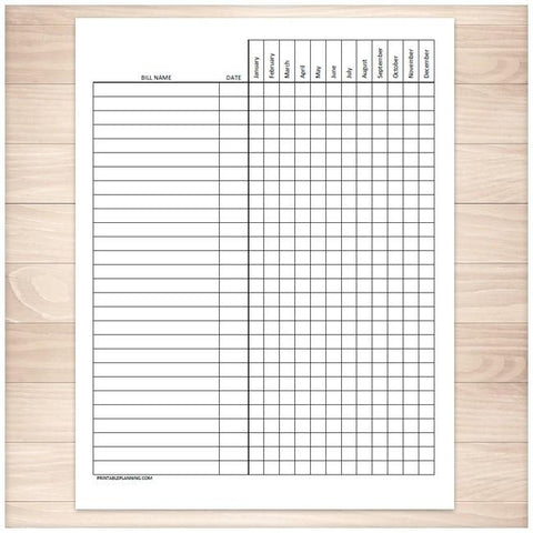 Bill Payment Tracker Log - Full Year - Printable, at Printable Planning