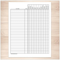 Bill Payment Tracker Log - Full Year - Printable at Printable Planning