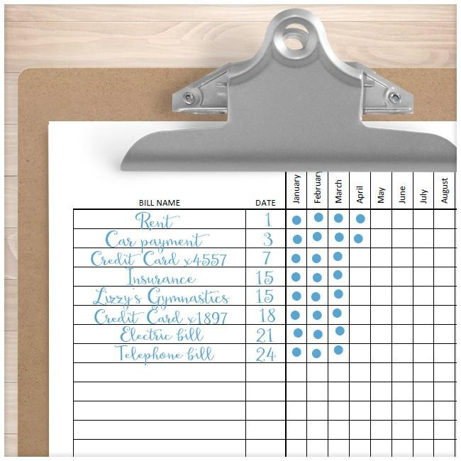bill payment tracker log full year printable at printable