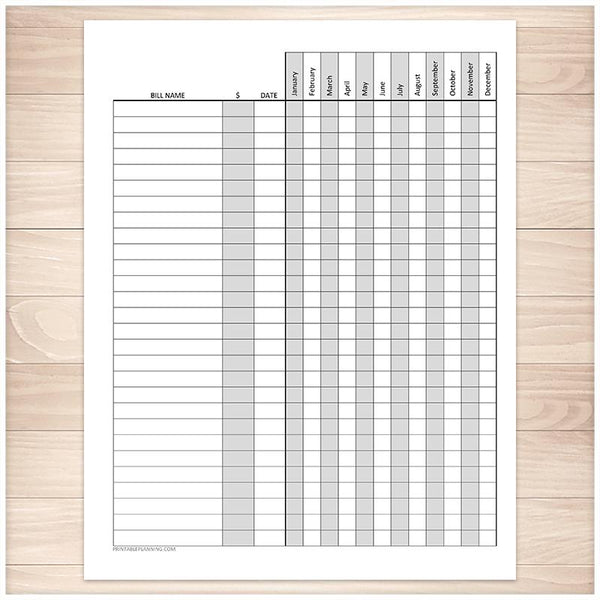 Bill Payment Tracker Log with Amount Column - Full Year - Printable
