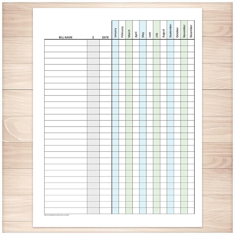 Bill Payment Tracker Log with Amount Column, Blue Green, Full Year - Printable