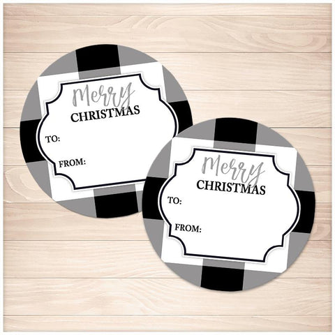 Black and White Buffalo Plaid Gift Tag Stickers - Printable, at Printable Planning