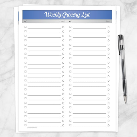 Printable Blue Header Weekly Grocery List, Full Page at Printable Planning