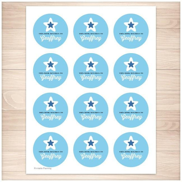 Blue Star Personalized Bookplate Stickers - Printable Planning