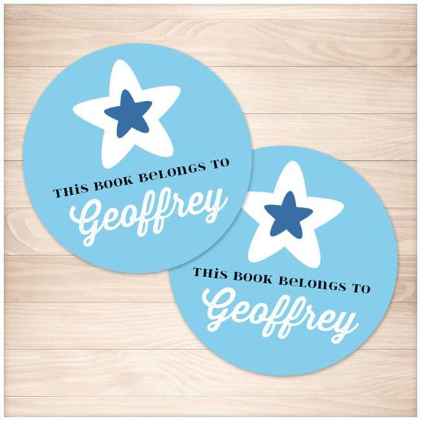 Blue Star Personalized Bookplate Stickers 2up - Printable Planning