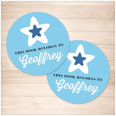 Blue Star Personalized Bookplate Stickers - Printable, at Printable Planning