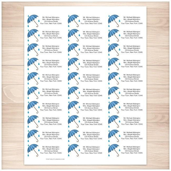 Blue Umbrella Shower Address Labels 30up - Printable Planning