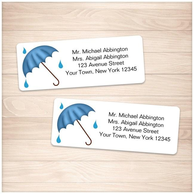 Blue Umbrella Shower Address Labels - Printable Planning