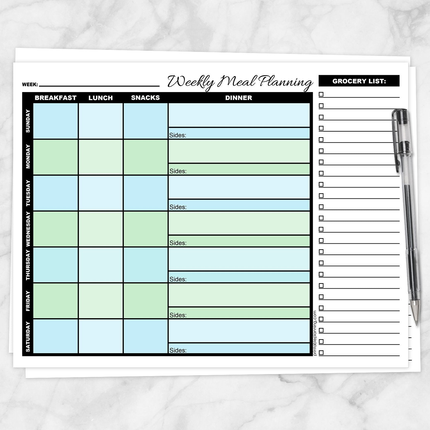 Printable Blue and Green Weekly Meal Planning Page with Grocery List at Printable Planning