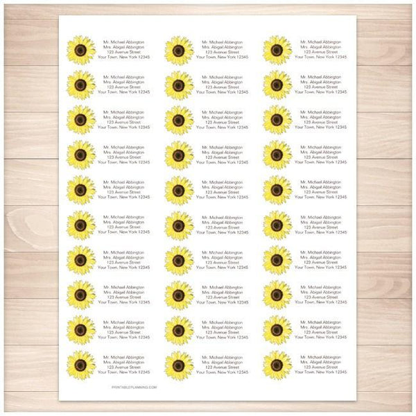 Bright Happy Yellow Sunflower Address Labels 30up - Printable Planning