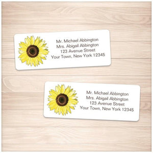 Bright Happy Yellow Sunflower Address Labels - Printable Planning