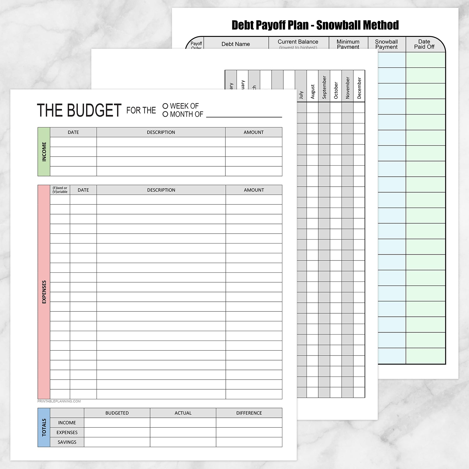 Printable Financial BUNDLE: Budget Worksheet, Bill Payment, Debt Payoff Plan at Printable Planning