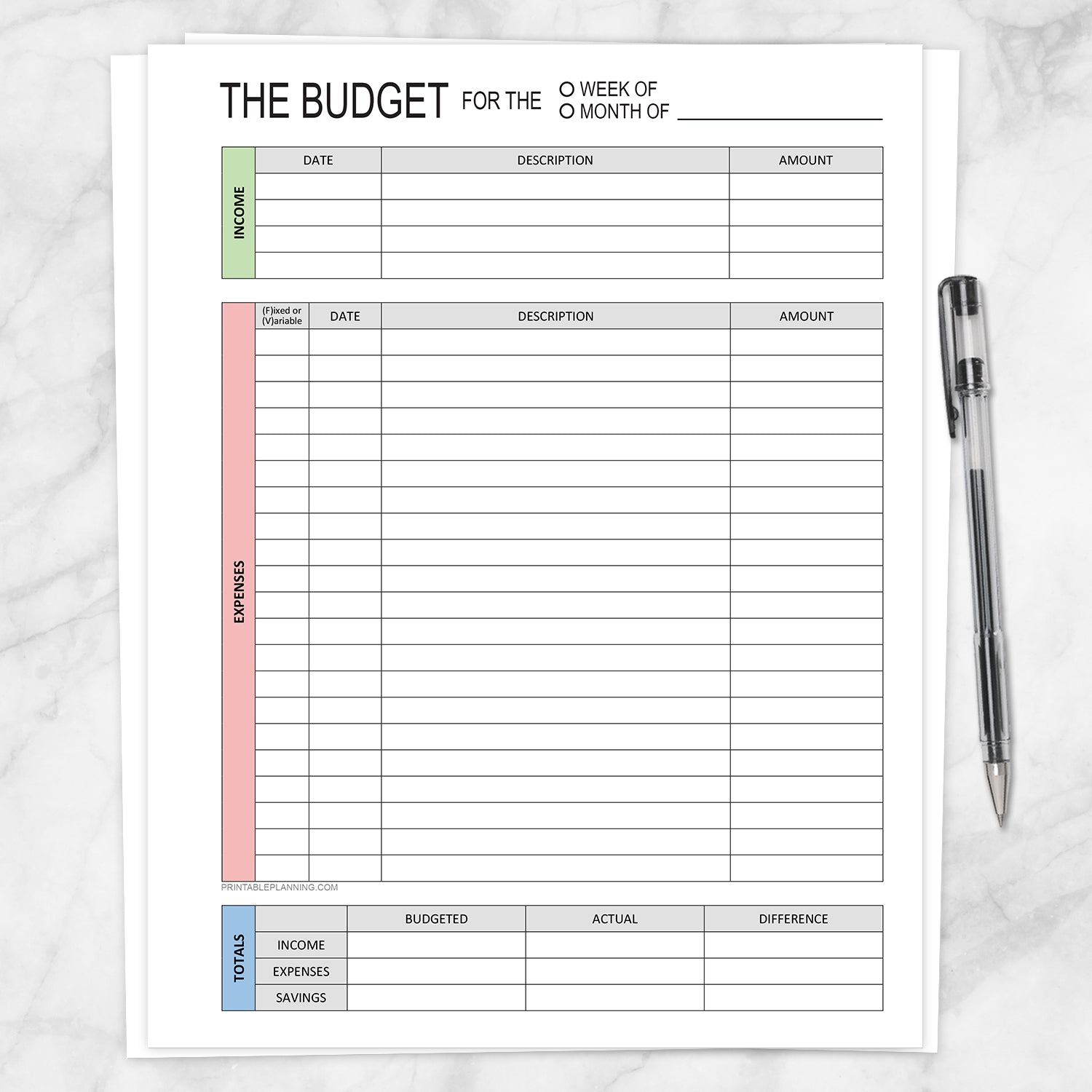 Printable Budget Worksheet - Weekly or Monthly, Green Red Blue, at Printable Planning