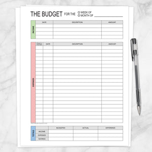 graphic about Red and Blue Lined Handwriting Paper Printable called Spending budget Worksheet - Weekly or Regular, Environmentally friendly Crimson Blue - Printable at Printable Designing for basically 5.00