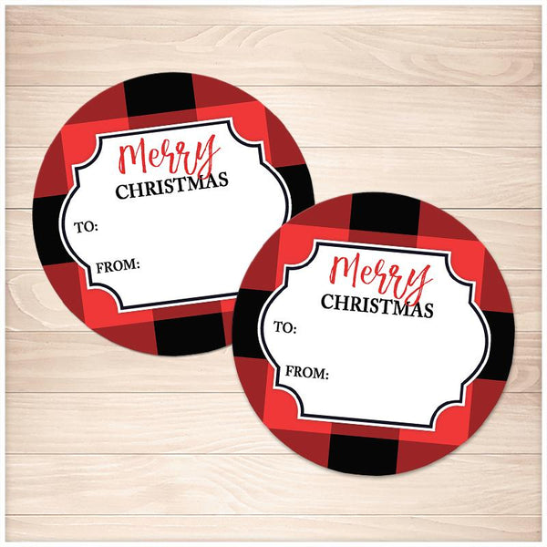 Red Buffalo Plaid Gift Tag Stickers - Printable, at Printable Planning