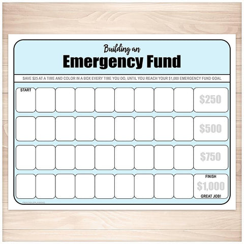 Building an Emergency Fund Worksheet in Blue - Printable