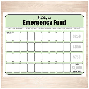 Building an Emergency Fund Worksheet in Green - Printable
