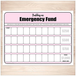 Building an Emergency Fund Worksheet in Pink - Printable