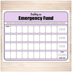 Building an Emergency Fund Worksheet in Purple - Printable