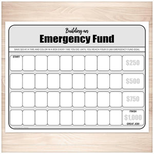 Building an Emergency Fund Worksheet - Printable