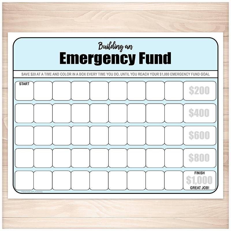 Building an Emergency Fund Worksheet in Blue (by $20 increments) - Printable