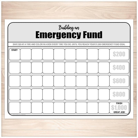 Building an Emergency Fund Worksheet (by $20 increments) - Printable