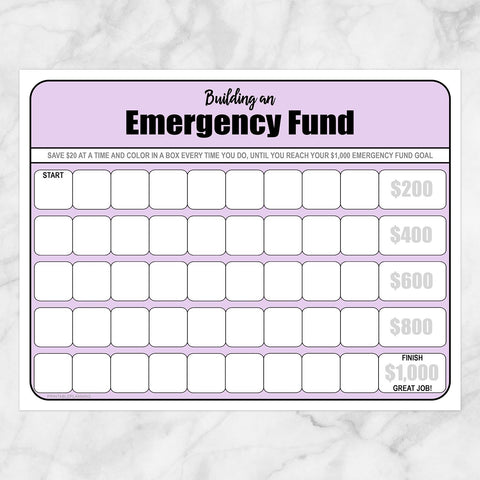 Printable Building an Emergency Fund Worksheet in Purple (by $20 increments) at Printable Planning
