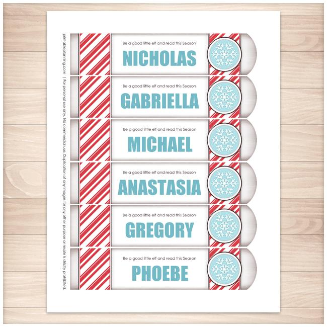 Personalized Christmas Candy Cane Stripe Blue Snowflake