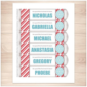 Personalized Christmas Candy Cane Stripe Blue Snowflake Bookmarks - Printable