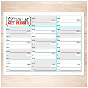 Christmas Gift Planning List - Holiday Organizer - Printable, at Printable Planning