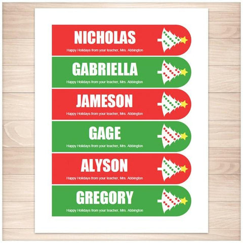 Personalized Christmas Holiday Tree Red Green Bookmarks - Printable, at Printable Planning
