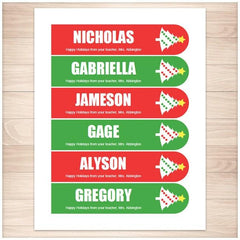 Personalized Christmas Holiday Tree Red Green Bookmarks - Printable Planning