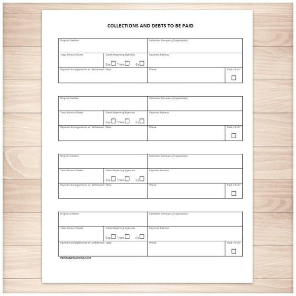 collections and debts to be paid tracking sheet printable at printable planning for only. Black Bedroom Furniture Sets. Home Design Ideas
