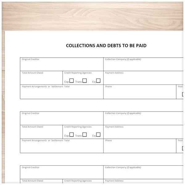Collections and Debts to be Paid - Tracking Sheet - Printable Planning