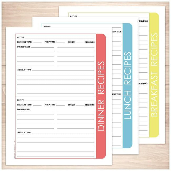 Color Category Recipe Pages BUNDLE - Printable Planning